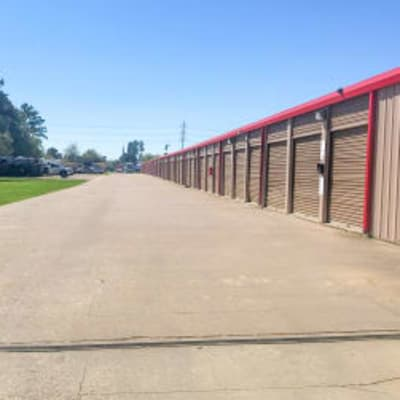 Outdoor ground floor units at Storage Star Tomball in Tomball, Texas
