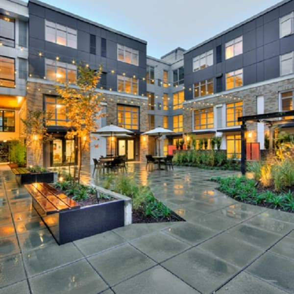 Private courtyard for residents at The Lyric in Seattle, Washington