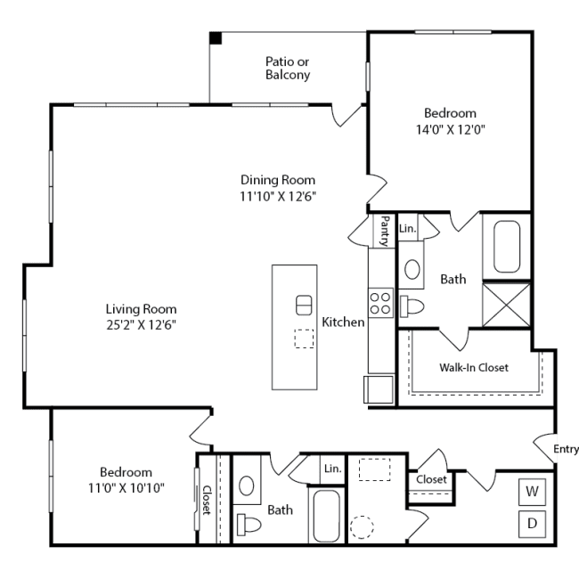 Spacious two-bedroom Linden Layout at Iron Works Village near Denver, Colorado