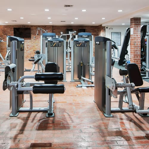 Onsite fitness center at The Meadows in Culver City, California