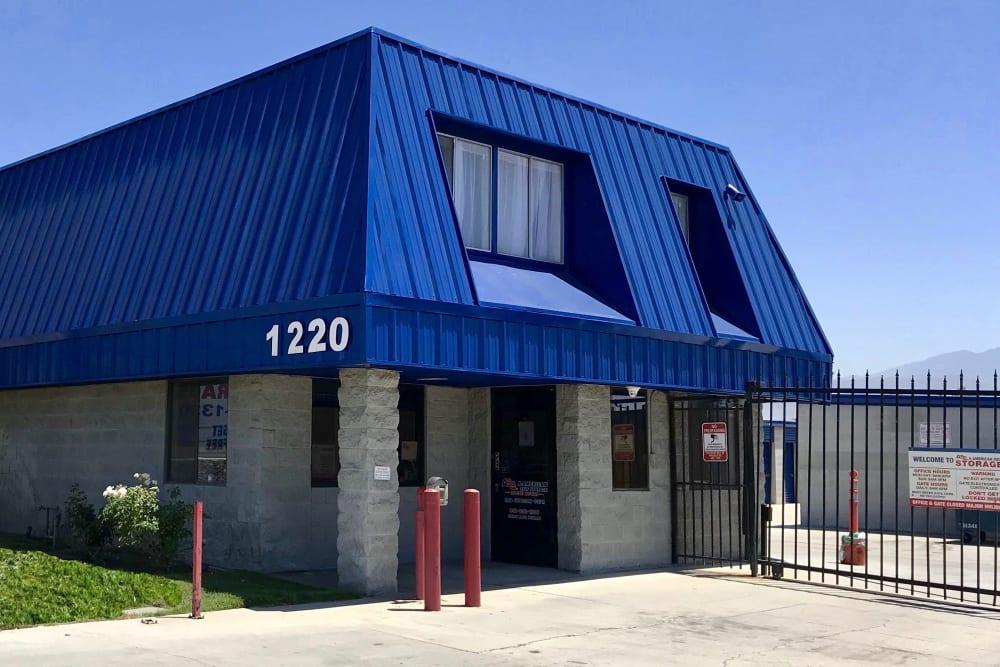 Gated entrance at A-American Self Storage in Hemet, California