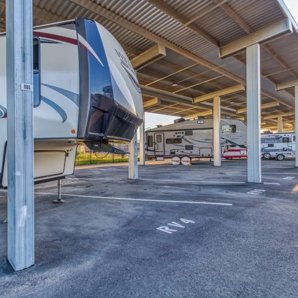 Covered RV, boat, and auto storage at StorQuest Self Storage in Modesto, California