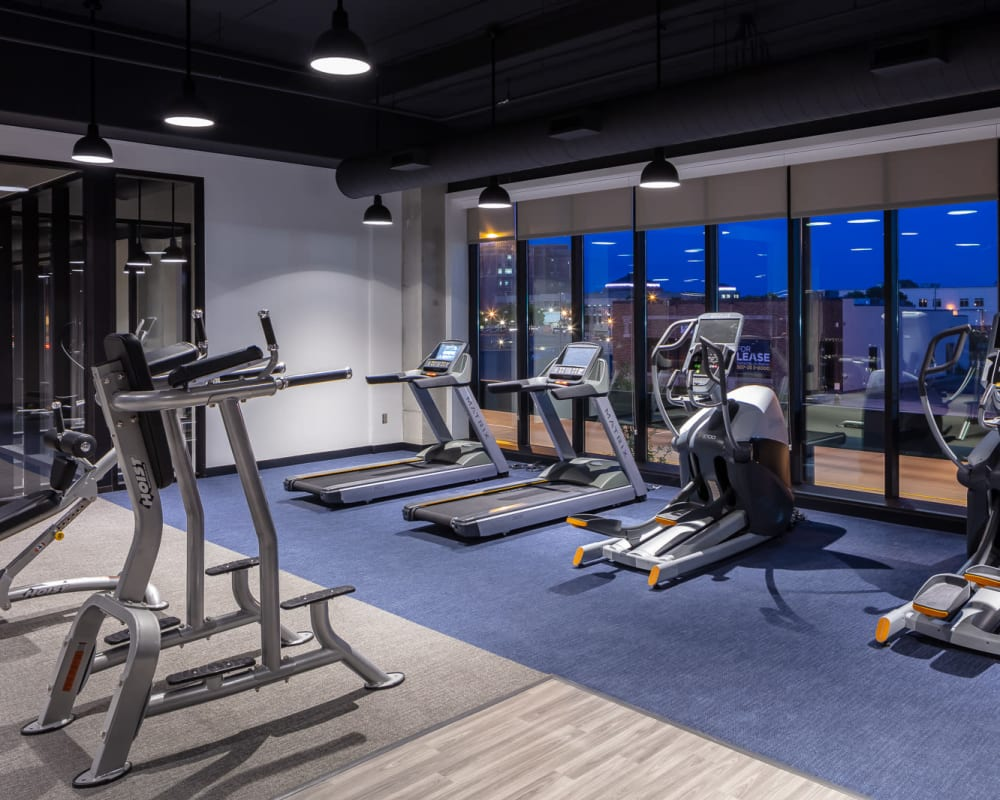 Fitness center at The Maven on Broadway in Rochester, Minnesota