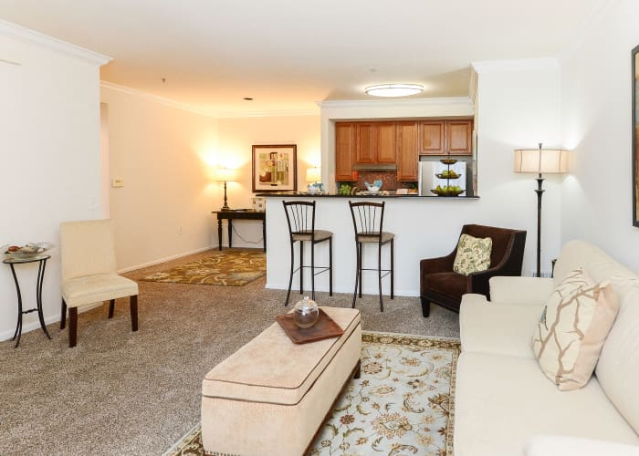 Bishop's View Apartments & Townhomes offers a beautiful living room in Cherry Hill, NJ