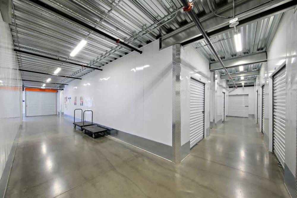 Brightly lit indoor storage at A-1 Self Storage in San Diego, California
