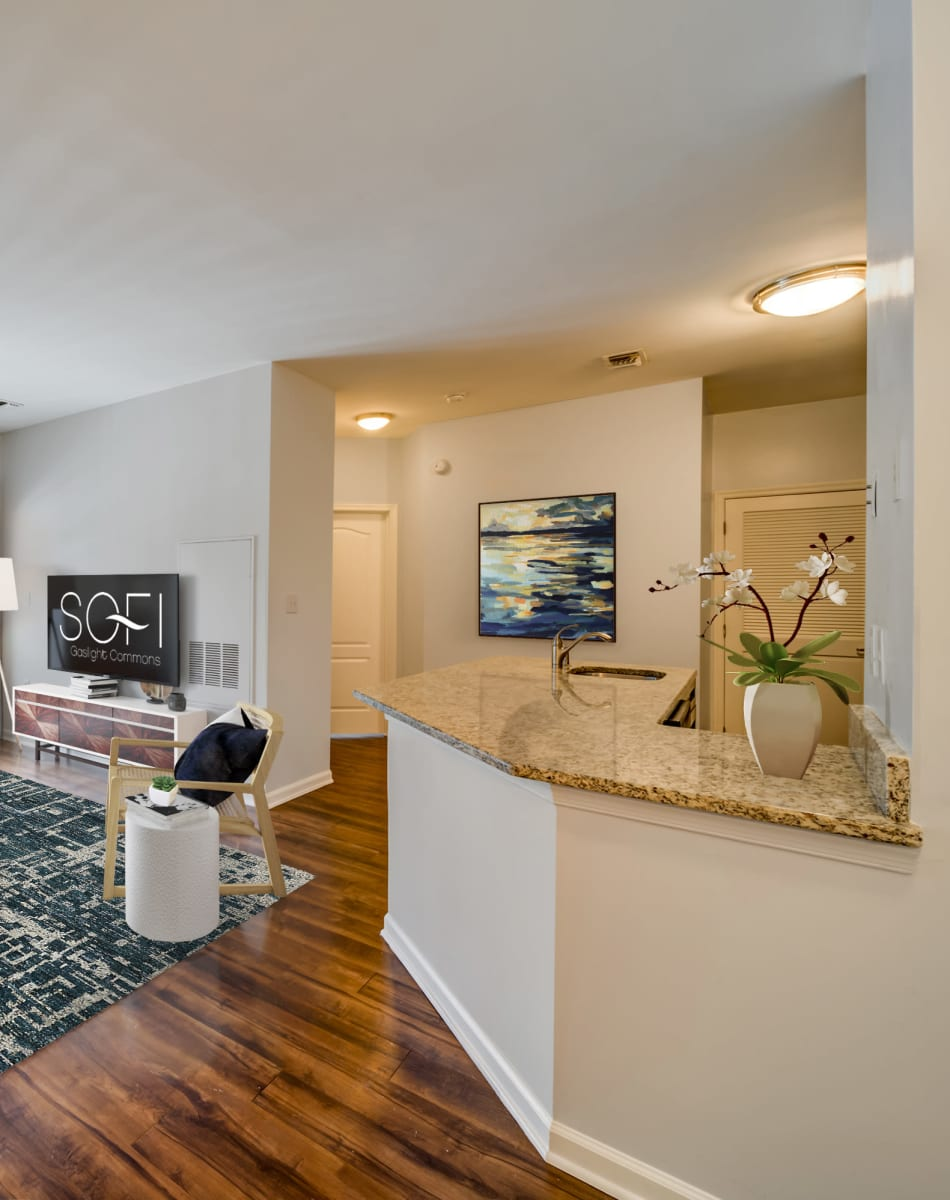 Kitchen area in a model home at Sofi Gaslight Commons in South Orange, New Jersey