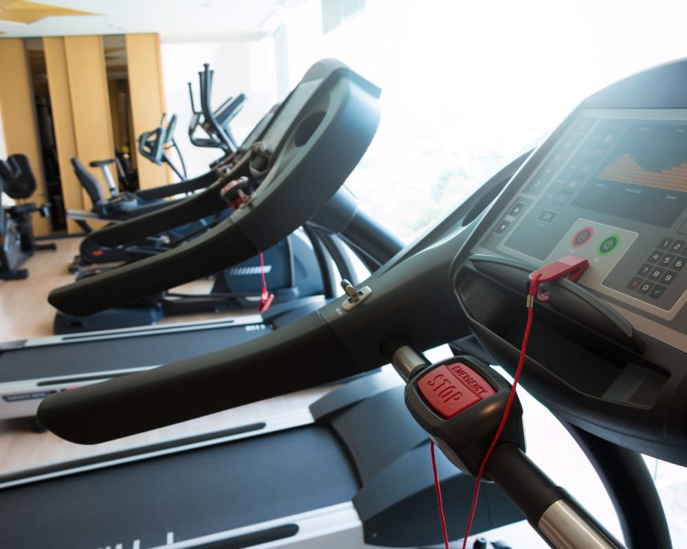 Indoor fitness center at The Venue in Rochester, New York