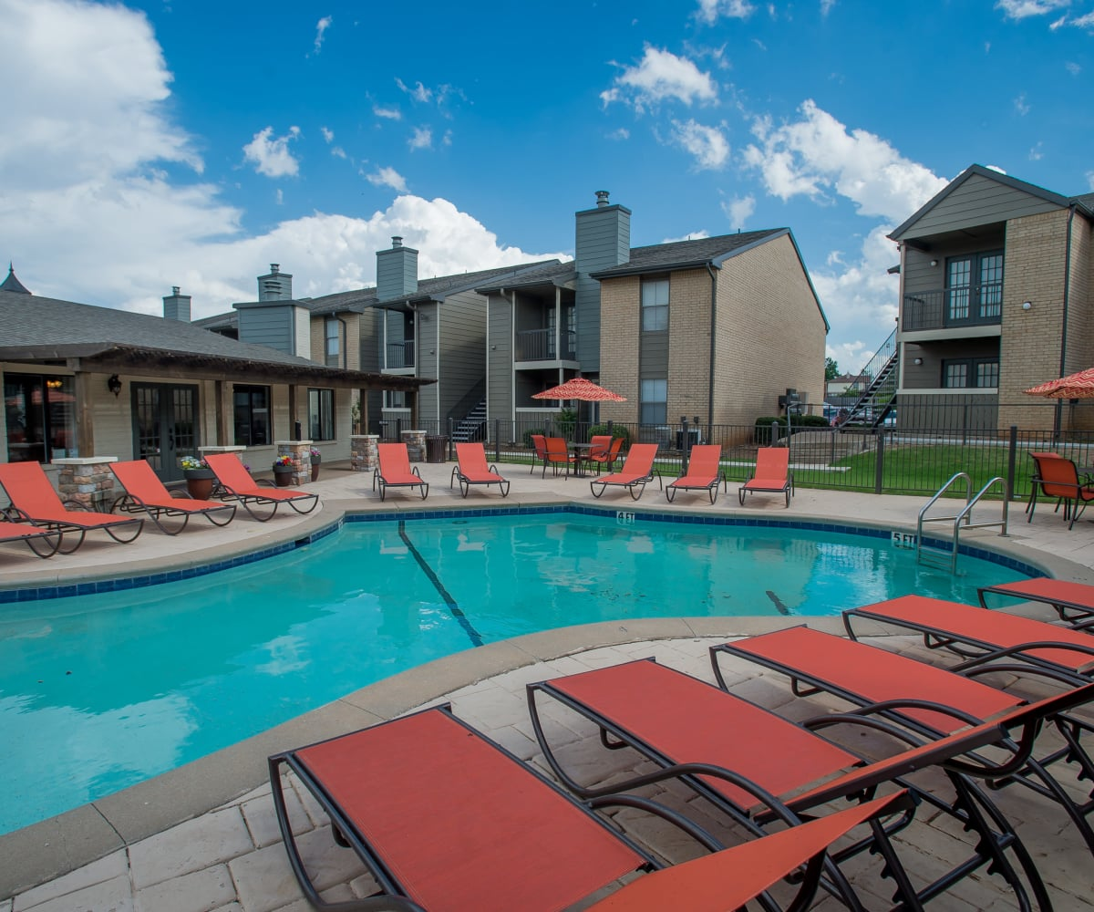 Sparkling swimming pool at Cimarron Pointe Apartments in Oklahoma City, Oklahoma
