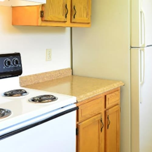 Fully equipped kitchen at Lafeuille Apartments in Cincinnati, Ohio