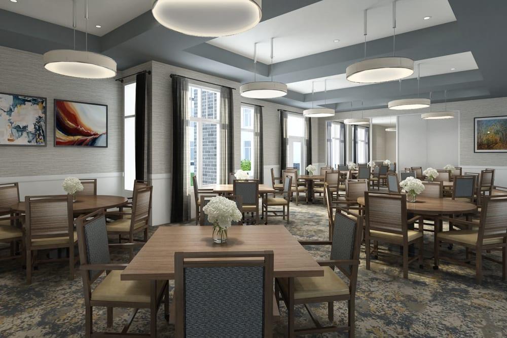 Spacious resident dining room at Anthology of Novi - OPENING 2020 community in Novi, Michigan