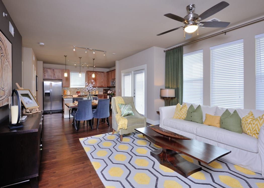 Our apartments in Katy, Texas showcase a renovated living room