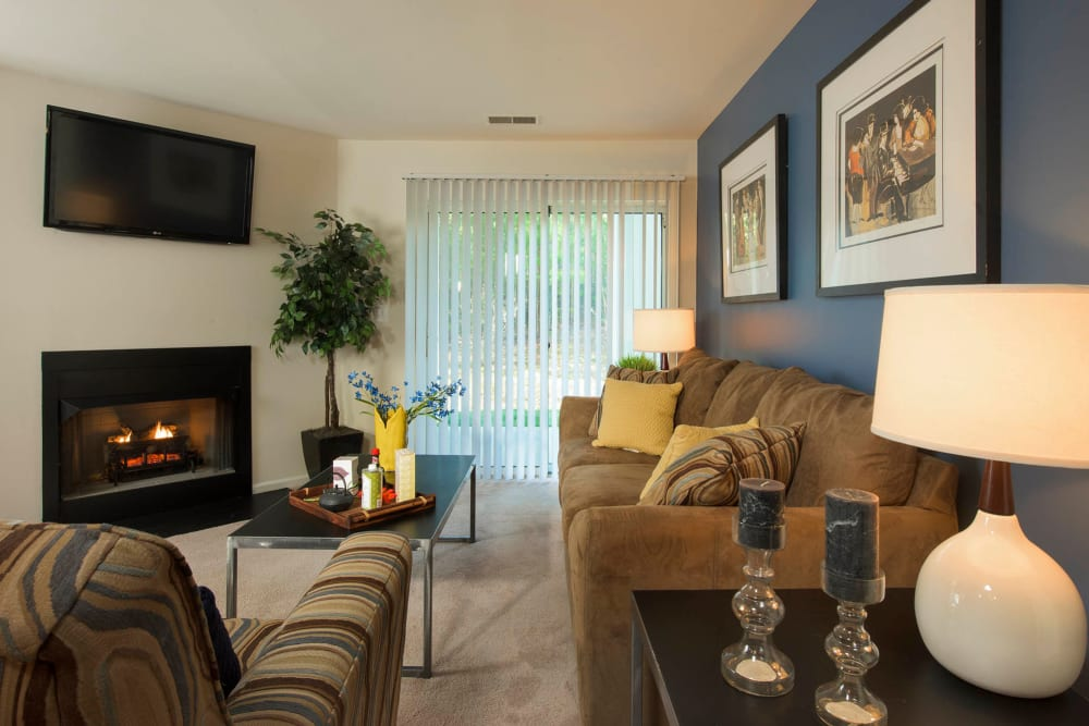 Beautiful living room with lots of natural lighting at Park Villas Apartments in Lexington Park, Maryland