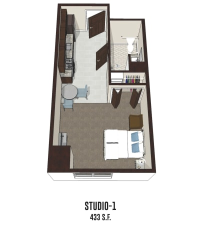 Independent living Studio 1 is 433 square feet at New Albany in New Albany, Ohio.