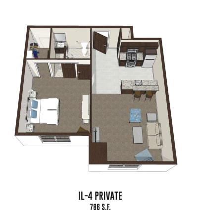 Independent living private room 4 is 786 square feet at Mt Washington in Mt Washington, Kentucky.