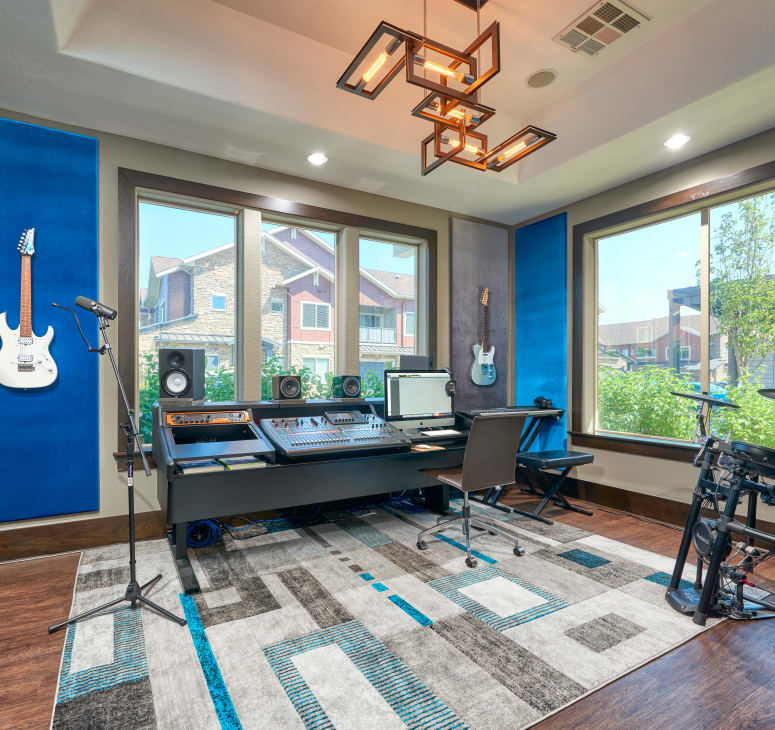 The recording studio, ready for your podcast, livestream, or next big hit, at M2 Apartments in Denver, Colorado