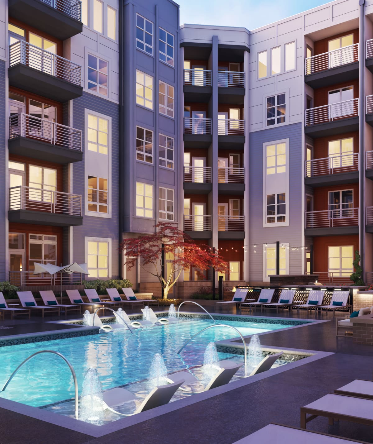 Rendering of pool area lit up at Alta Warp + Weft in Charlotte, North Carolina
