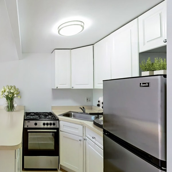 Luxury compact studio kitchen at 210-220 E. 22nd Street in New York, New York