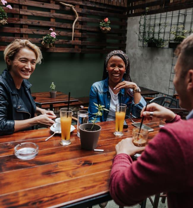 Resident friends enjoying brunch near Marq on Ponce in Atlanta, Georgia