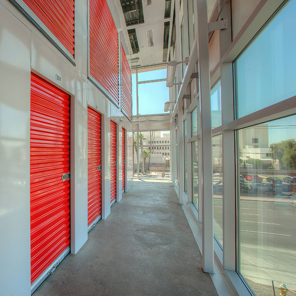 Climate controlled storage units with red doors at StorQuest Self Storage in Phoenix, Arizona