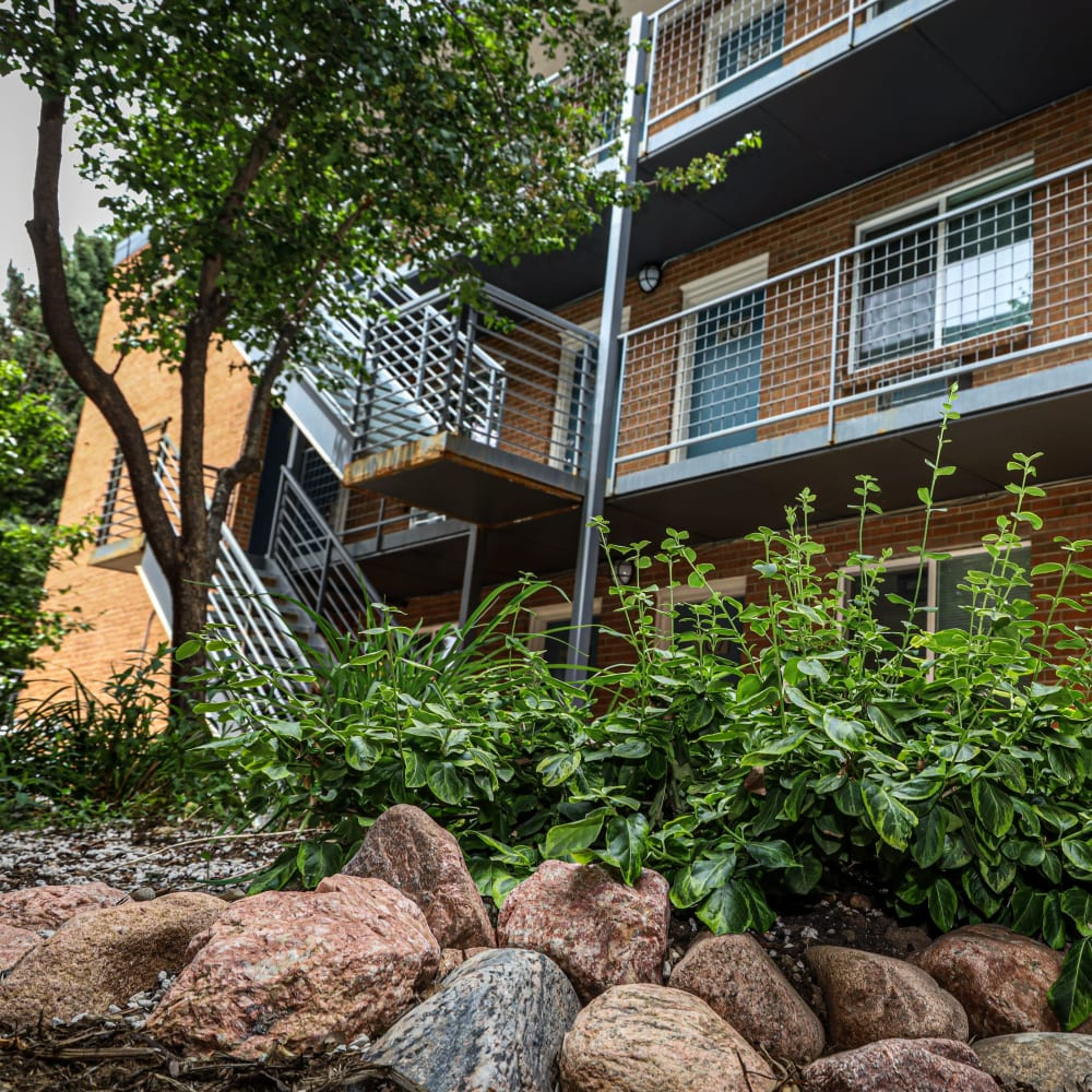 Stairs to apartments at Southglenn Place in Centennial, Colorado