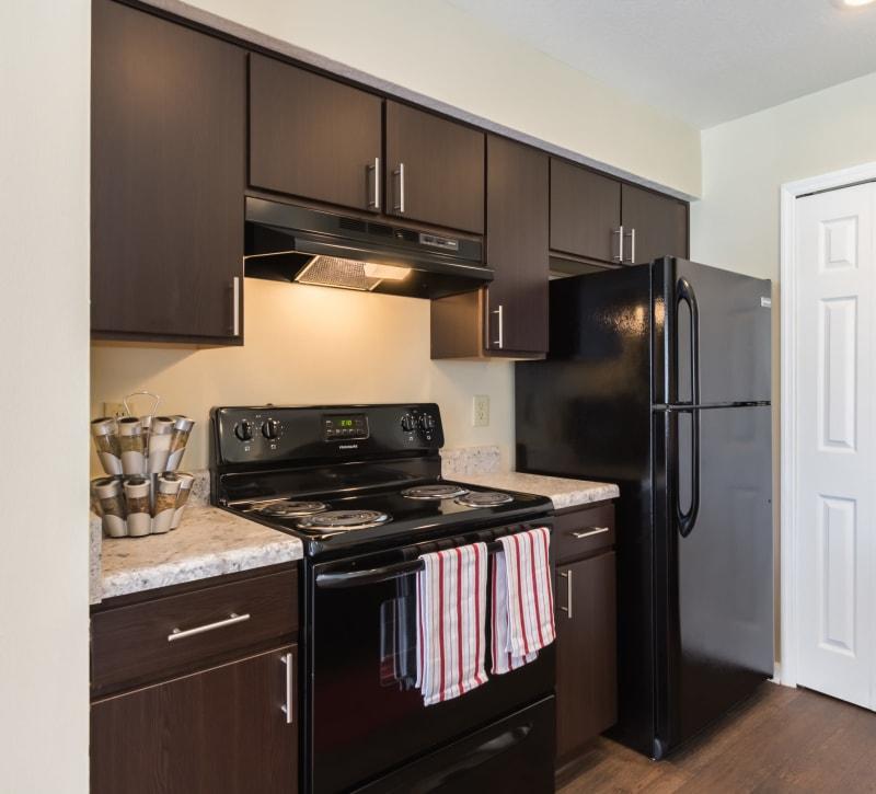 Dark wood cabinets in an apartment kitchen at Alexander Court in Reynoldsburg, Ohio