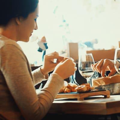 Resident enjoying a meal at a local restaurant near Nichols Park in Austin, Texas