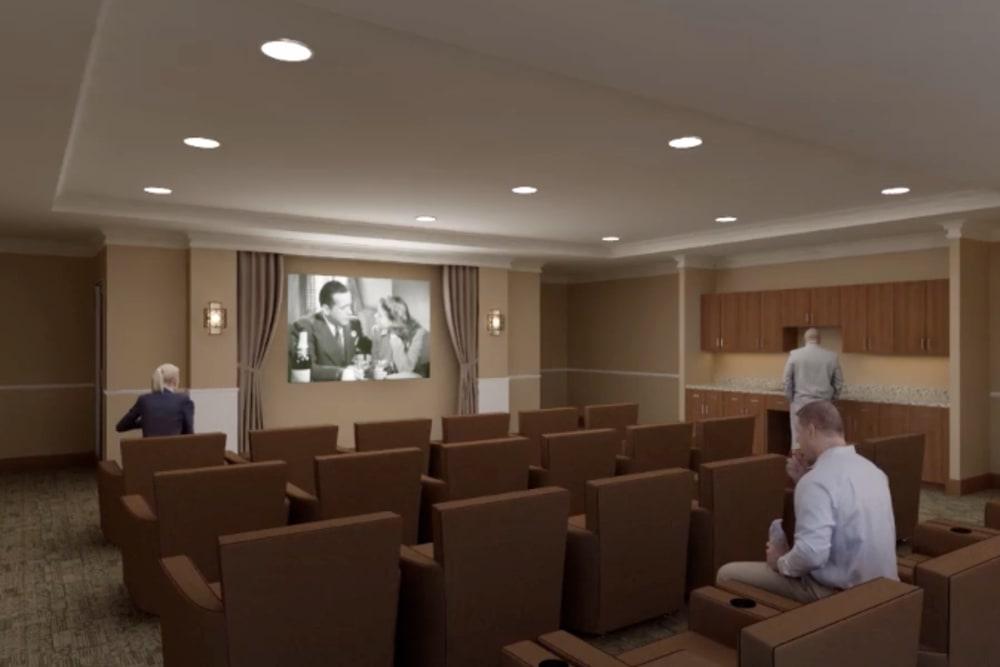 A rendering of the movie theater at Harmony at Greensboro in Greensboro, North Carolina
