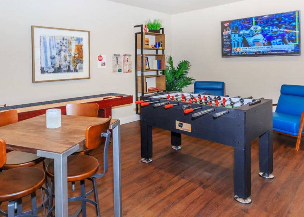 Game room at Ecco Apartments