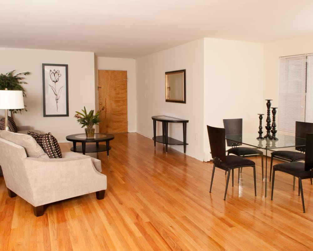 Living room at Lafayette Park Apartments in Hawthorne, New Jersey
