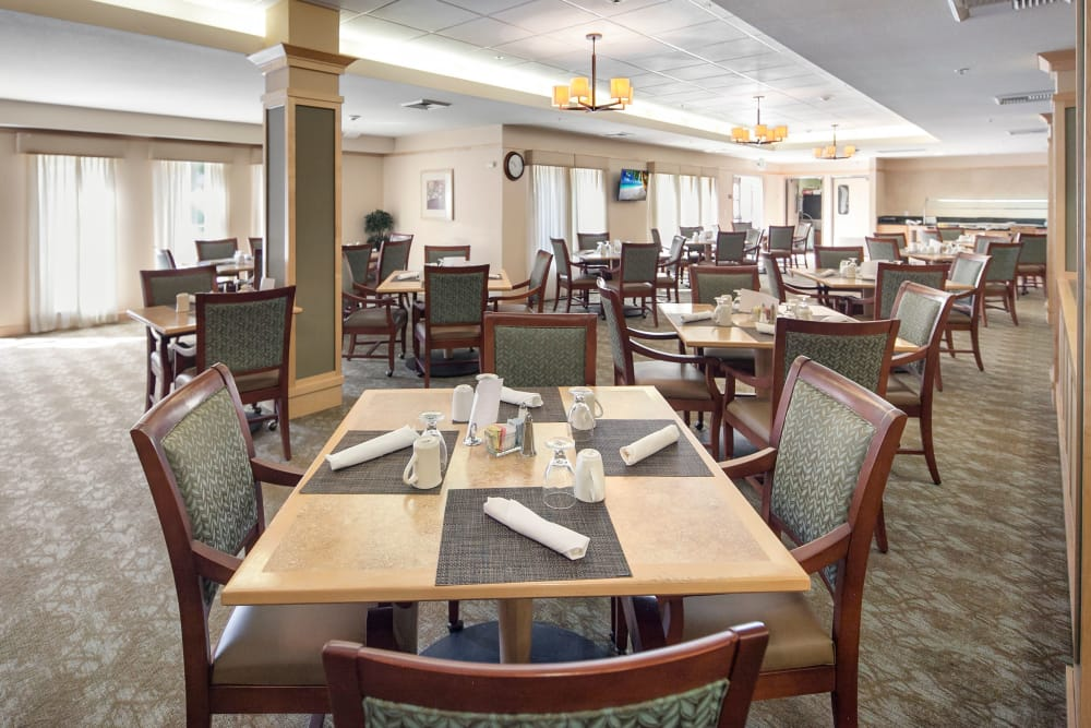 Dining room at our senior living community in San Jose