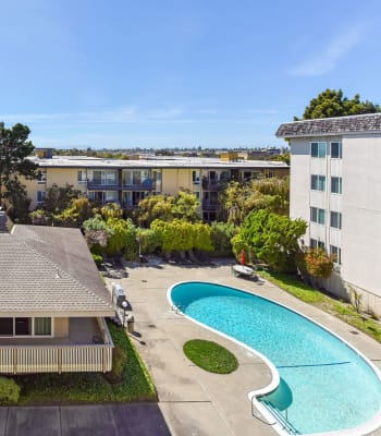 Aerial view of the swimming pool and spa at Tower Apartment Homes in Alameda, California