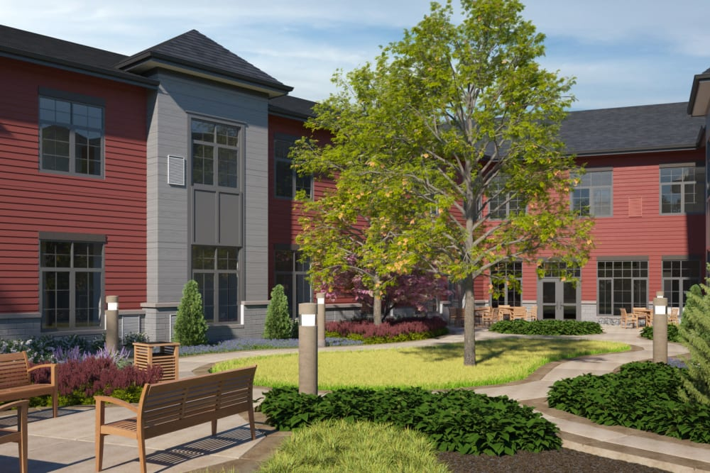 A rendering of the courtyard with benches at Anthology of Midlothian - Opening Early 2021 in North Chesterfield, Virginia.