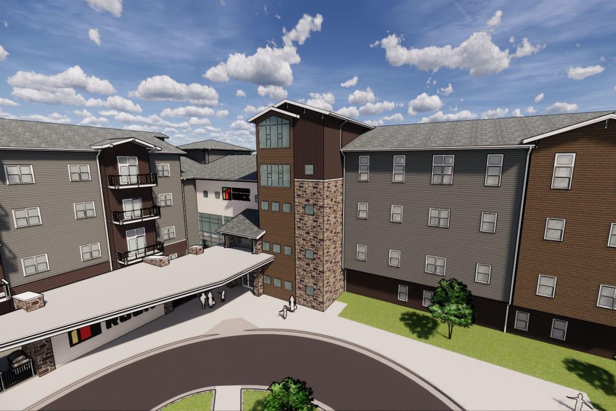 Rendering of apartment buildings and circular driveway at Springfield, Missouri near Turners Rock
