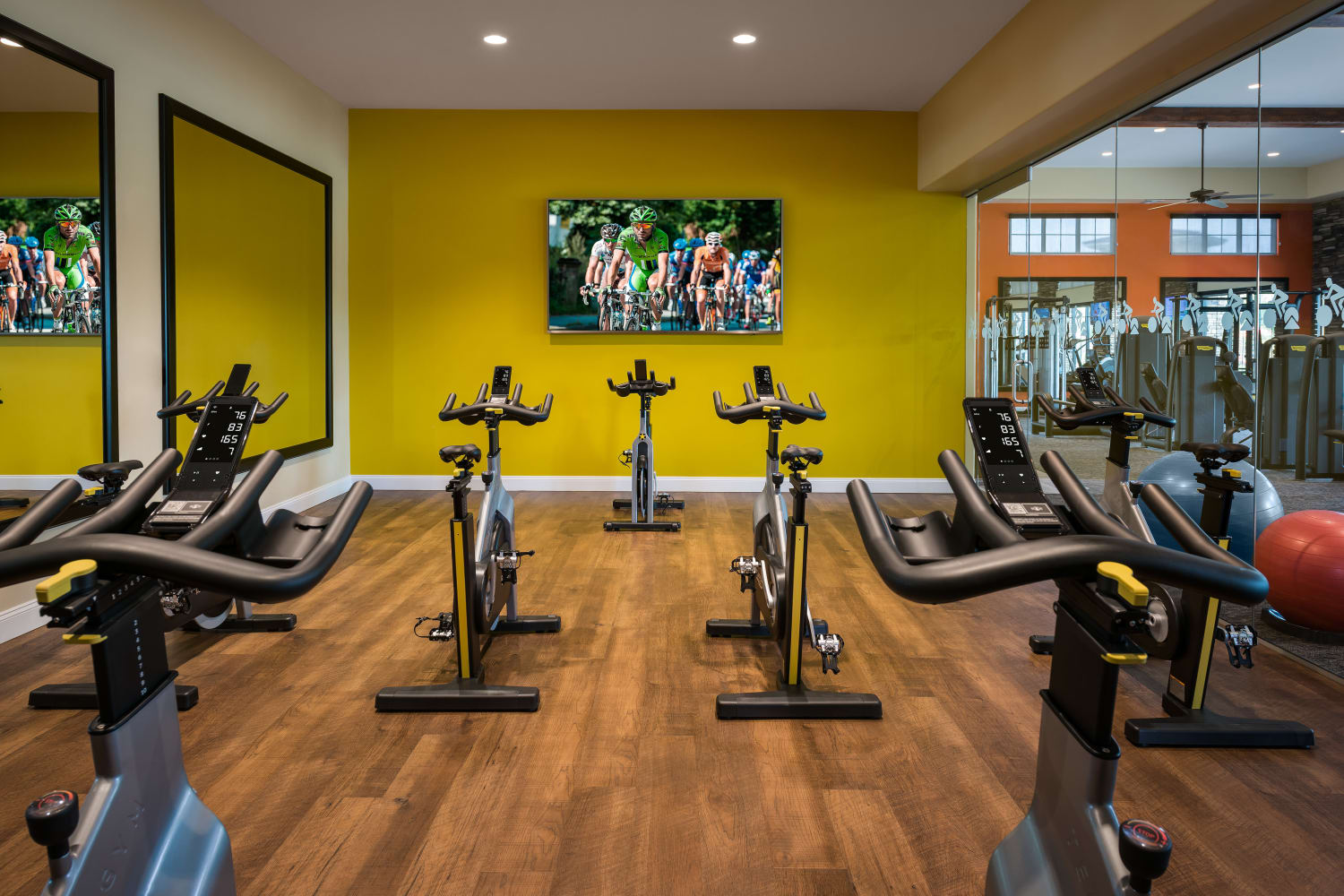 Fitness Center Spin Room at San Valencia in Chandler, Arizona