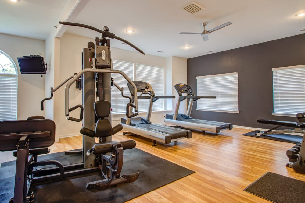 Community gym at Kensington at Beverly Hills in Southfield, Michigan