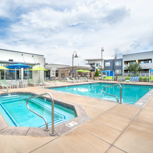 Spa and swimming pool area at Olympus at Daybreak in South Jordan, Utah