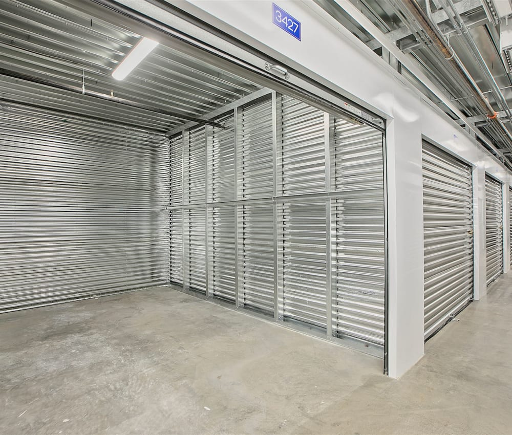 A large climate-controlled unit with the door open at Pac-It-Away Storage in San Diego, California