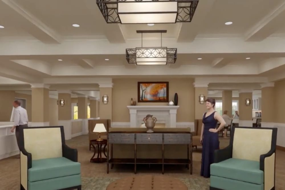 A rendering of fireside seating in the lobby at Harmony at Greensboro in Greensboro, North Carolina