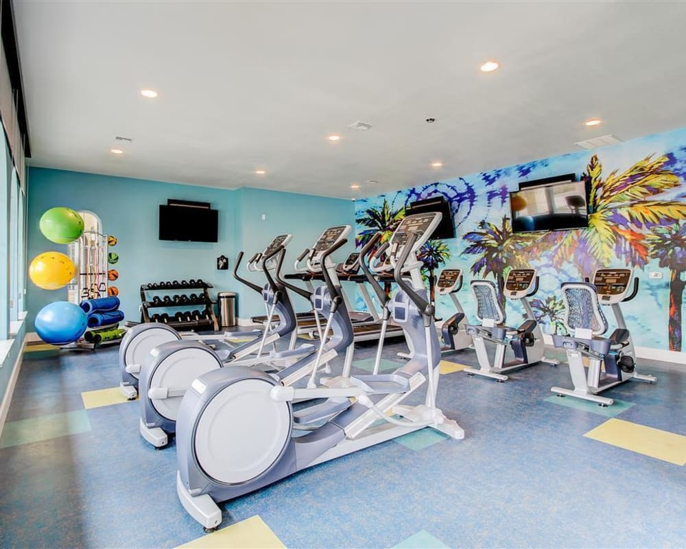 Resident gym with spin bikes at The Palms at Morada in Stockton, California