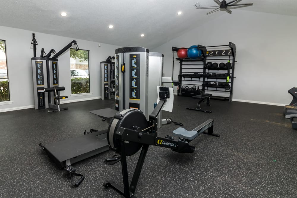 Fitness center for residents to work out in at The Logan in Bedford, Texas