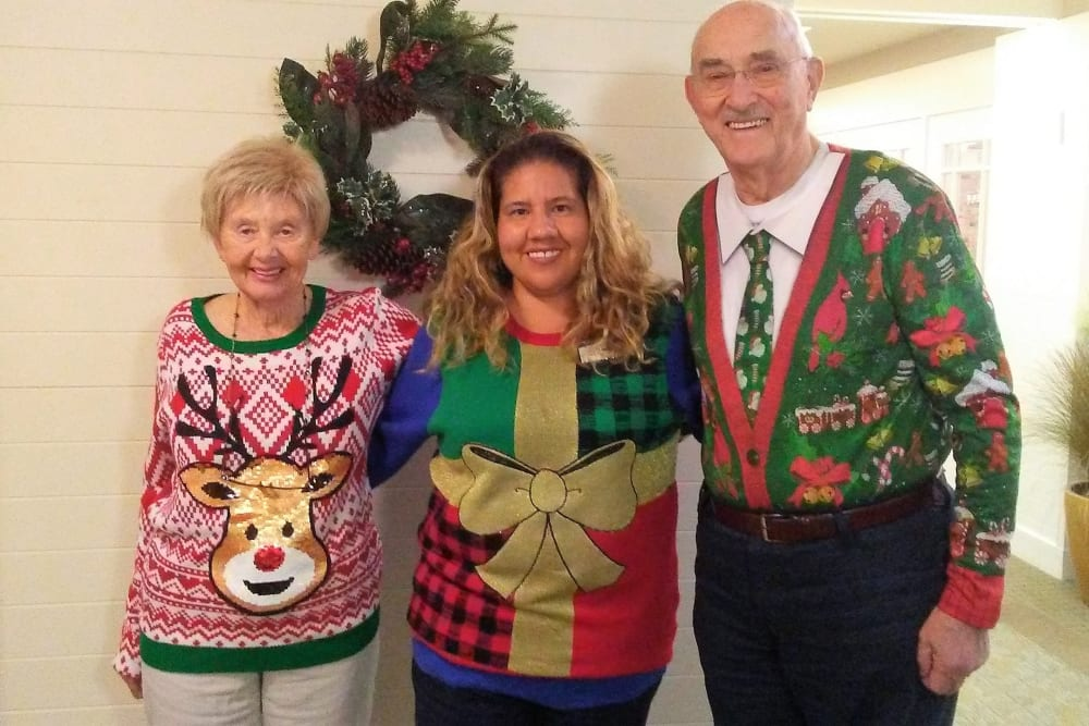 Christmas sweater party at Merrill Gardens at Huntington Beach in Huntington Beach, California