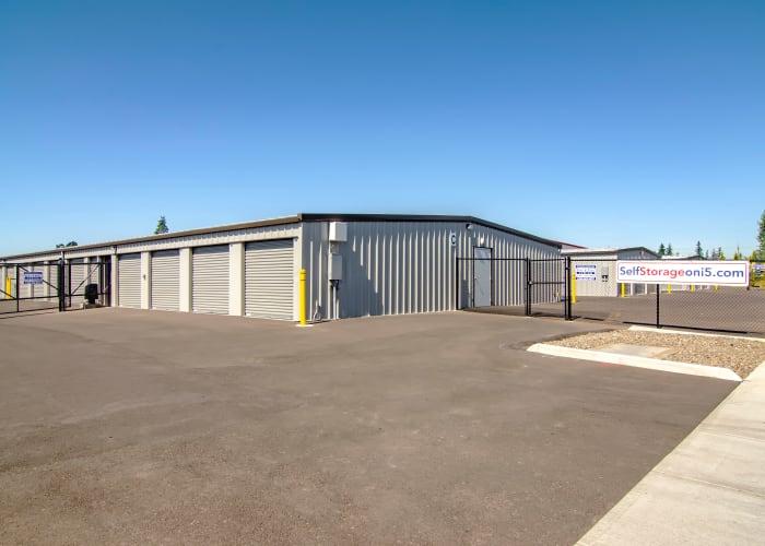 Exterior view of storage unit doors at Oregon RV & Storage in Hubbard, Oregon
