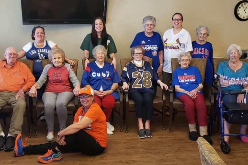 Residents and staff gathered for a photo at Villas of Holly Brook Effingham in Effingham, Illinois