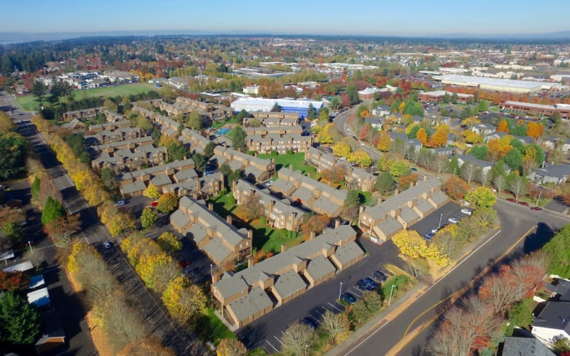 Aerial view of the property at Renaissance at 29th Apartments in Vancouver, Washington