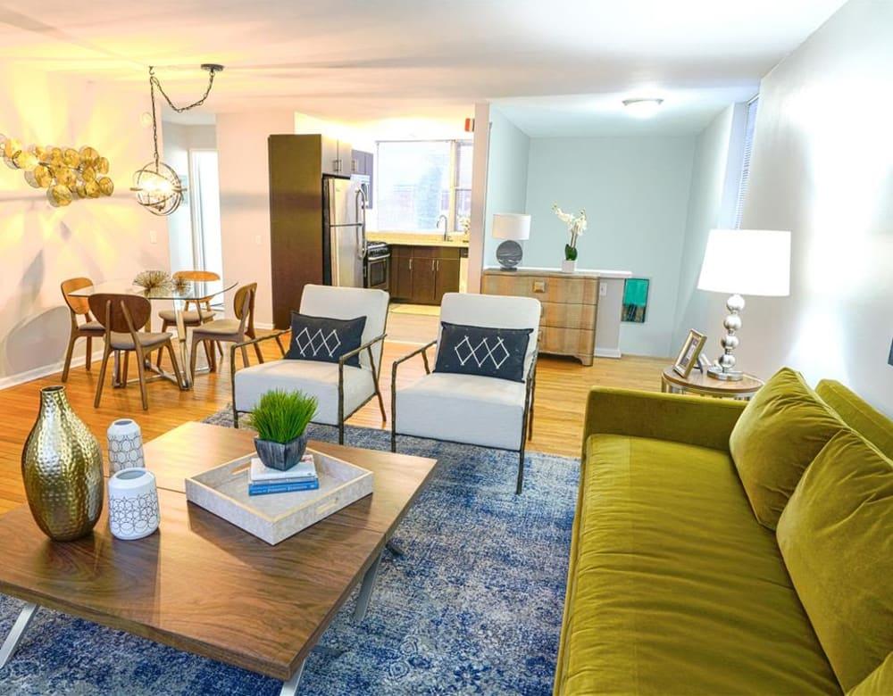 Living room, dining and kitchen open floor plan at Cherokee Apartments in Philadelphia, Pennsylvania