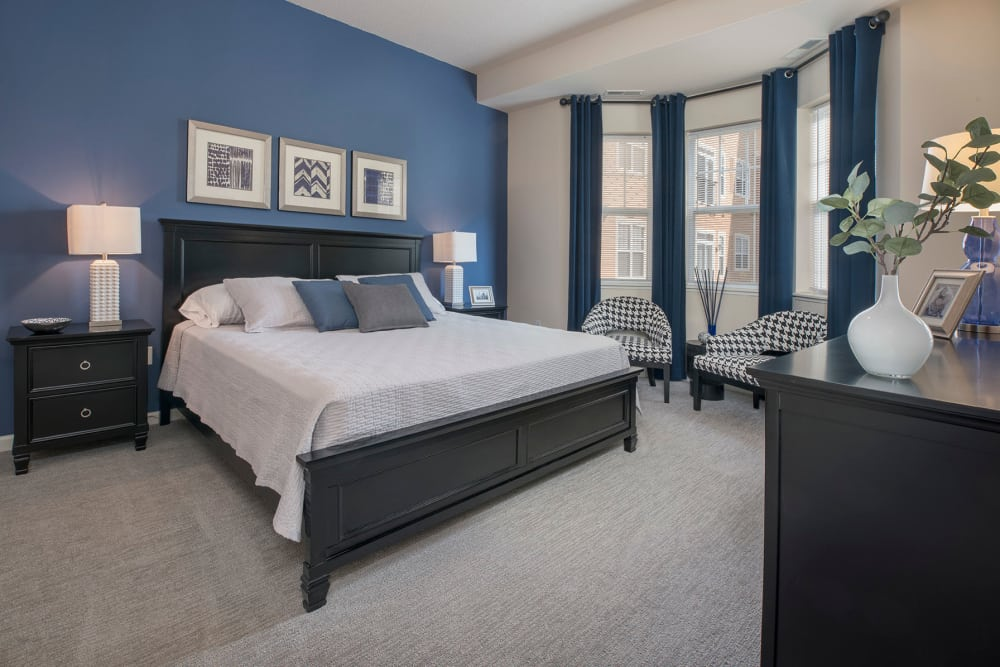 Model bedroom at City Walk at Woodbury.