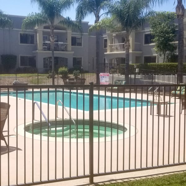 Large resident pool at Pacifica Senior Living Menifee in Sun City, California.