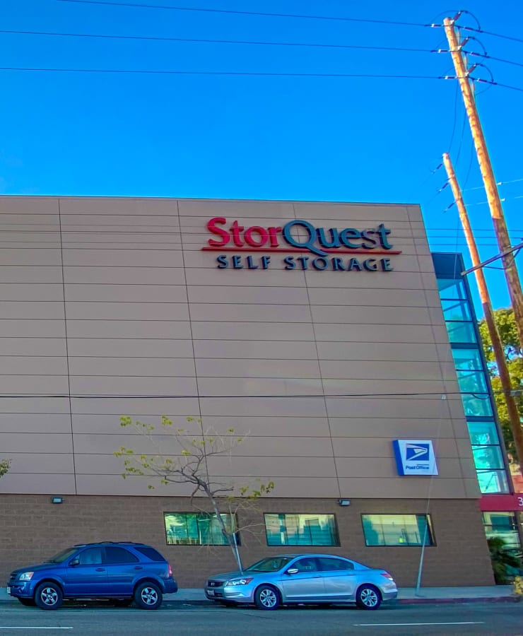 The exterior of the main entrance at StorQuest Self Storage in Los Angeles, California