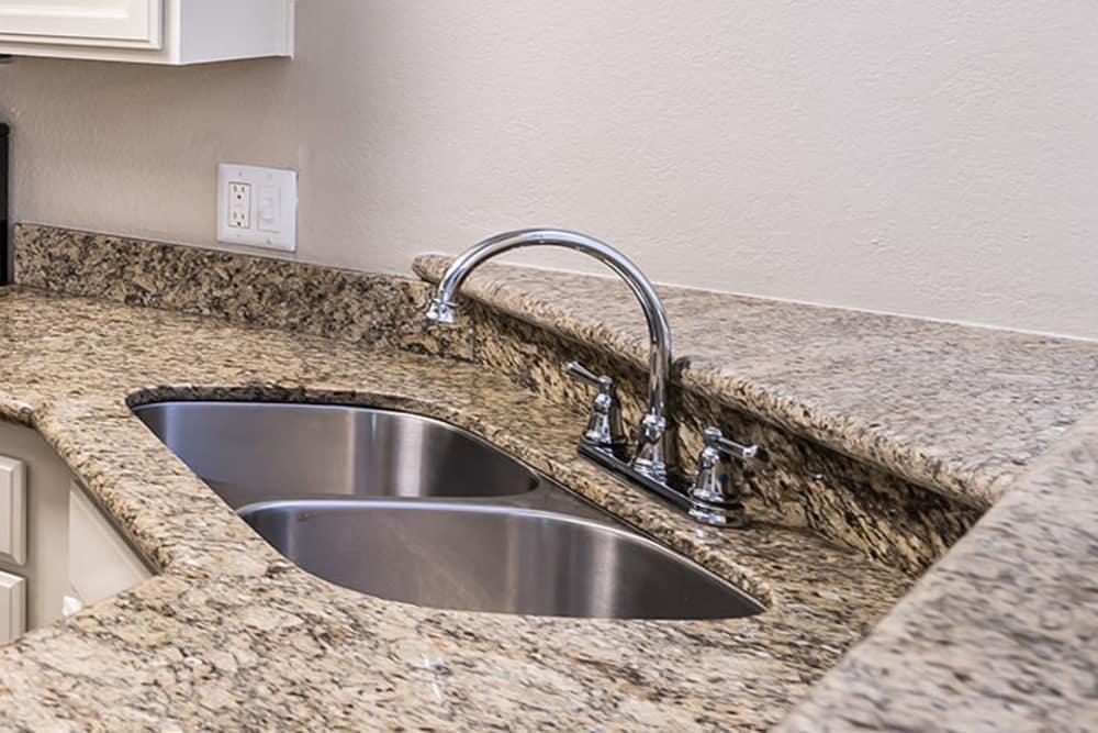 Stainless steel double sink at San Palmas in Chandler, Arizona