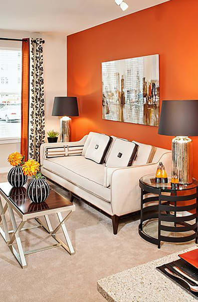 Living room with vibrant decorations at Palette at Arts District in Hyattsville, Maryland